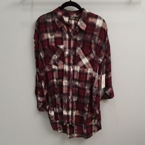 A.N.A. Wine, Black and White Patchwork Shirt in M